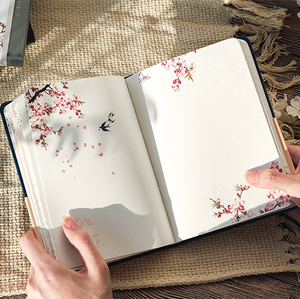 Color Inside Page Notebook Chinese Style Creative Hardcover Diary Books Weekly Planner Handbook Scrapbook Beautiful Gift
