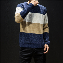 Men's sweater 2019 autumn and winter new round neck sweater striped color matching sweater young people trend men's clothing