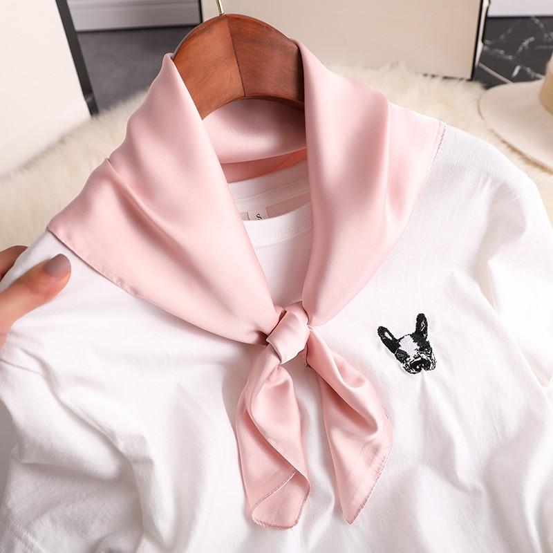 2020 Luxury Solid Silk Scarf Women Neck Shawls Square Foulard Head Kerchief Hair Accessories Band Lady Retro Scarves Bandana
