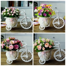 GAOBEI Artificial flowers Silk Roses plastic bicycle desktop decorative Rose bonsai plant Fake flowers for Wedding decorative