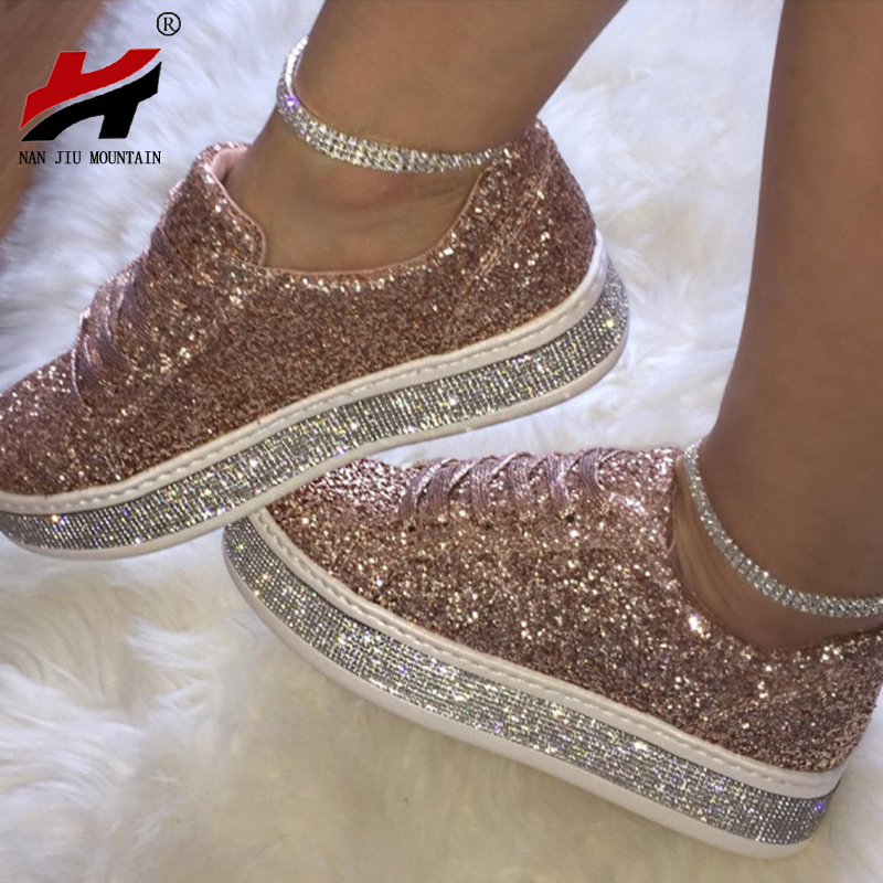 NAN JIU MOUNTAIN Sequined Rhinestones Canvas Shoes Straps Platform Sneakers Flat Heel Women's Shoes 3 Color Plus Size 34-43