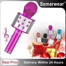 Ws858 bluetooth karaoke microfone sem fio para crianças brinquedos máquina de karaoke portátil sem fio handheld microfone falante festa em casa cantar
