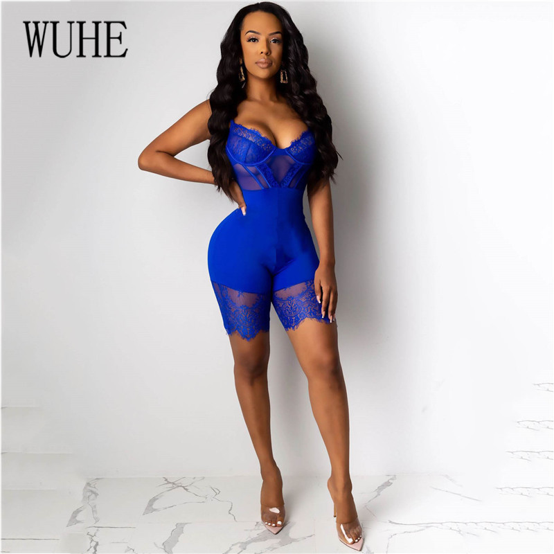 Hf0ab2ba396cc48d19d4fae3b219556b5s - WUHE Lace Patchwork Sexy Spaghetti Strap Jumpsuits Women Off Shoulder Sleeveless Elegant Bodycon Bandage Party Short Playsuits