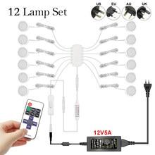 Télécommande gradation contrôle LED sous armoire lampe DC12V Puck rond 21LED s armoire éclairage armoire lampe placard lumières