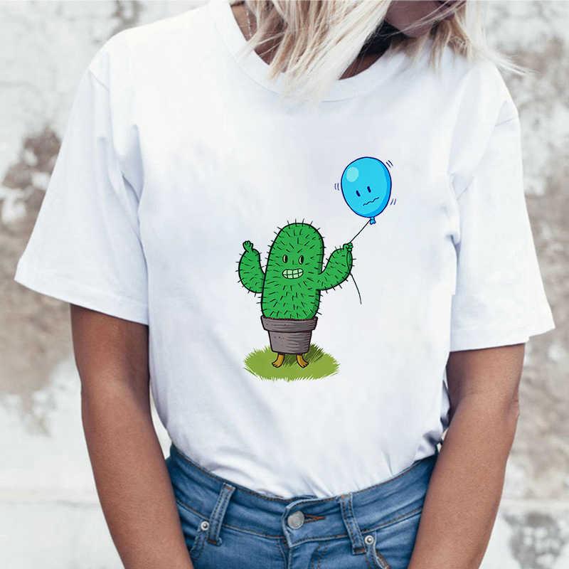 Femmes mode Harajuku à manches courtes T-shirt blanc grande taille personnalité T-shirt femme hauts vêtements Cactus ballon impression T-shirt