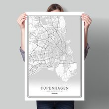 Denmar Black White World City Map Poster Nordic Living Room Copenhagen  Odense Wall Art Pictures Home Decor Canvas Painting