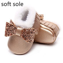 Baby Shoes Boys Boots Shiny Girls Babies Winter Bow Warm Fur Plush for Cotton Velvet