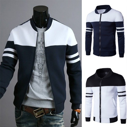 Fashion Men's Ribbon Decoration Stitching Set Casual New Men's Spring And Autumn Men's Jacket