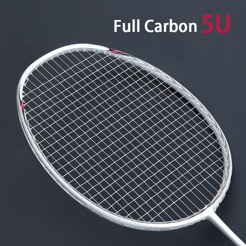 Professional Carbon Badminton Rackets Padel Super Light 5U Racket With Strings Bags Carbon Fiber Racquet Strung Free Grip
