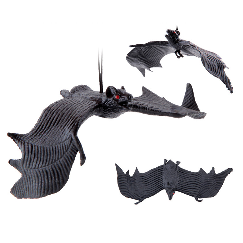 Hf0ab8340a3c4401c838ddb3ba4ded2ec1 - Halloween Simulation Animals Bats Trick Toy Halloween Decoration Horror House Bat Hanging Props Home Wall Window Decor