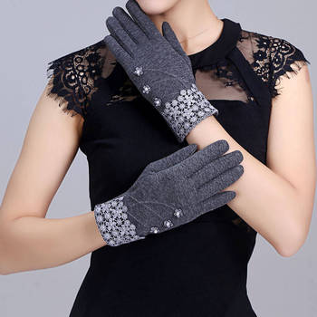 Fashion Elegant Womens Touch Screen Gloves Winter Ladies Lace Warm Cashmere Bow Full Finger Mittens Winter Hand Gloves For Women sparsil women winter velvet touch screen gloves warm fleece full finger cashmere mittens windproof elegant glove female girl