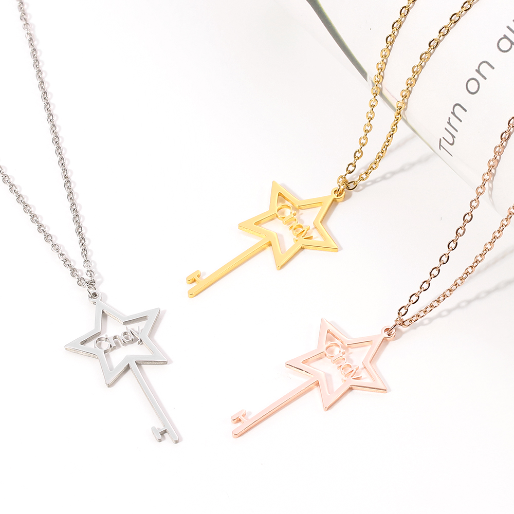 Custom fashion stainless steel name necklace personality five-pointed star necklace key ladies handmade custom font chain jewelr