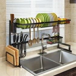 Estante de cocina de acero inoxidable, organizador de platos, tendedero, rejilla para escurrir para fregadero, almacenamiento de cocina, soporte de utensilios para encimera