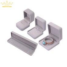 Серый бархат кулон ожерелье серьги браслет ювелирные изделия посылка чехол Обручальное кольцо Коробка органайзер для хранения подарочная коробка