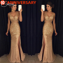 OLLYMURS Vintage Split Sequined Dress Evening Dress Gold Sling for Prom Free Shipping Straight Mermaid Dress cheap Halter NONE Floor-Length Polyester Trumpet Mermaid Formal Evening Evening Dresses Appliques CRYSTAL Flowers Lace Ribbons