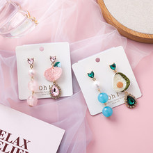 2019 New Women Asymmetric Fruit Earrings Cute Avocado Peach Embroidery Drop Earring Fashion Female Summer Jewelry Accessories(China)