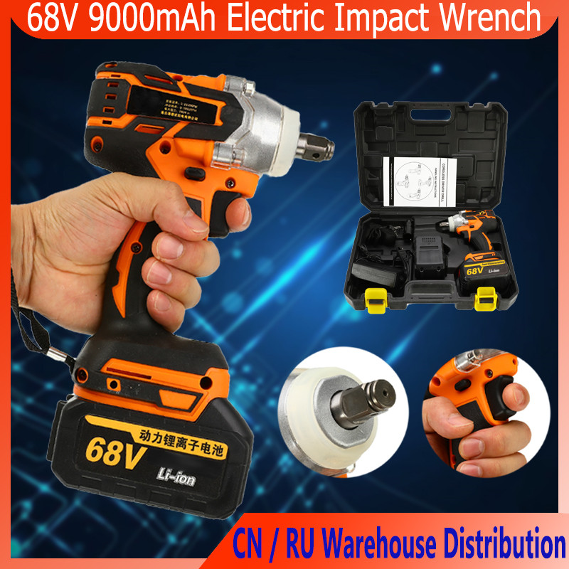 68V 9000mAh 320N.m Cordless Lithium-Ion Electric Impact Wrench Brushless Motor 2 Battery With Charge Power Tools