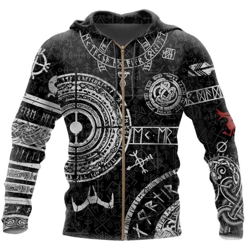 Viking Odin Tattoo 3D Printed Men hoodies Harajuku Fashion Hooded Sweatshirt Autumn Unisex Street hoodie sudadera