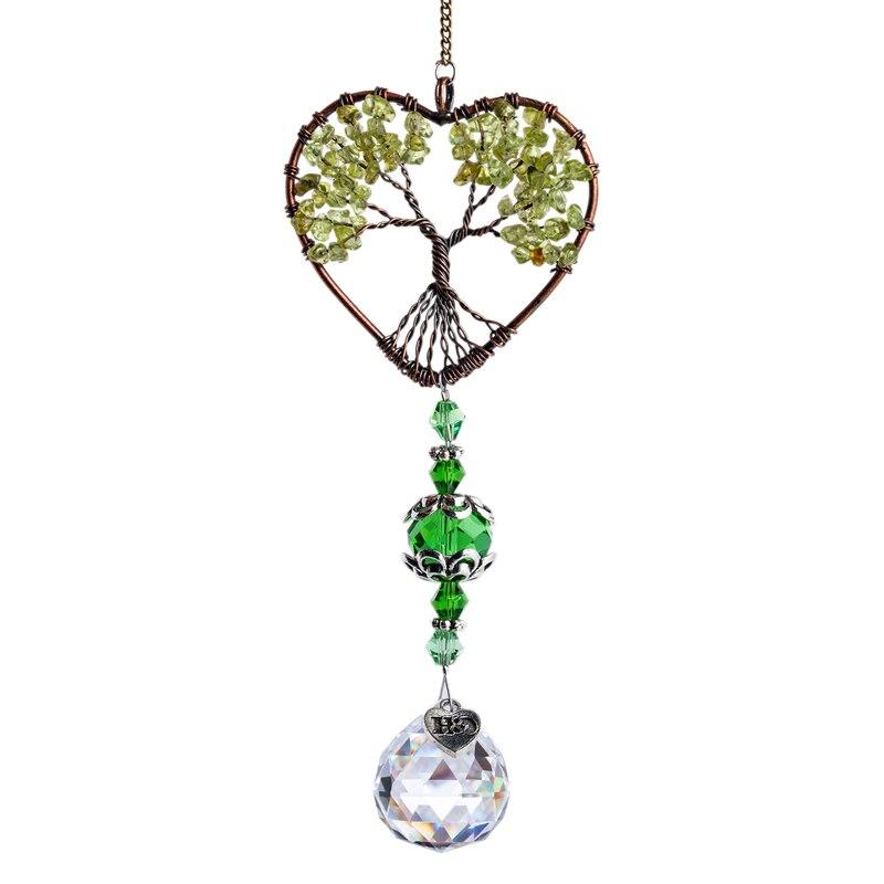 H&D Heart Shaped Crystal Tree of Life Suncatcher Healing Natural Stones Rainbow Maker Window Hanging Ornament Home Garden Decor