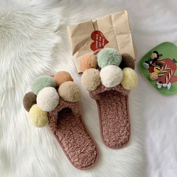 Cute Winter Plush Slipper Indoor Home Slippers Warm Shoes Women House Slippers with Pompom Balls  Fur Shoes Zapatos De Mujer winter cartoon indoor warm plush santa slippers women men children s christmas style home slipper fit christmas gifts