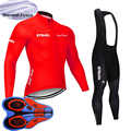 New Men Winter Cycling Jersey Long Sleeve Thermal Fleece Bicycle Uniform MTB Bike shirt bib/ pants suit Maillot Ciclismo Y101501