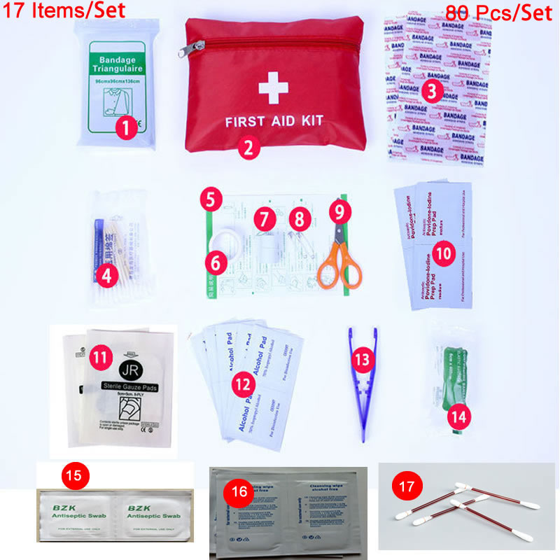 17 Items/Set Person Portable Mini Outdoor Waterproof First Aid Kit For Emergency Medical Treatment In Travel,Hiking,Camping