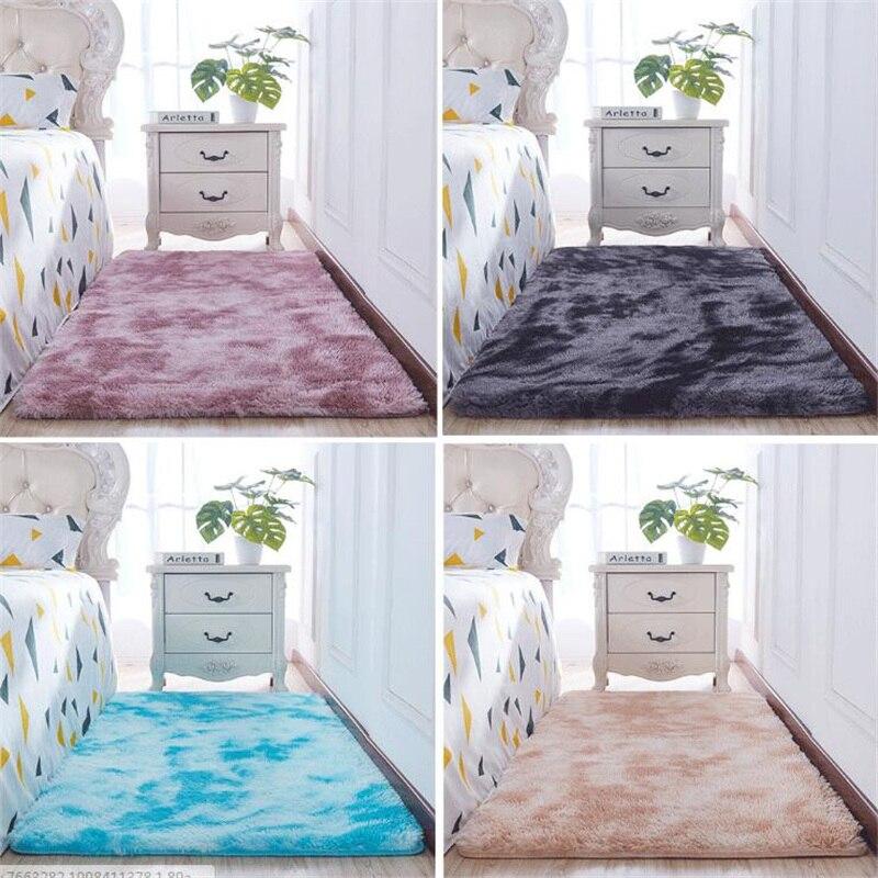 Livraison gratuite peluche tapis Shaggy fausse fourrure Style élégant tapis de sol, 80x160 cm-mise à niveau densité tissu cravate-teint couleur