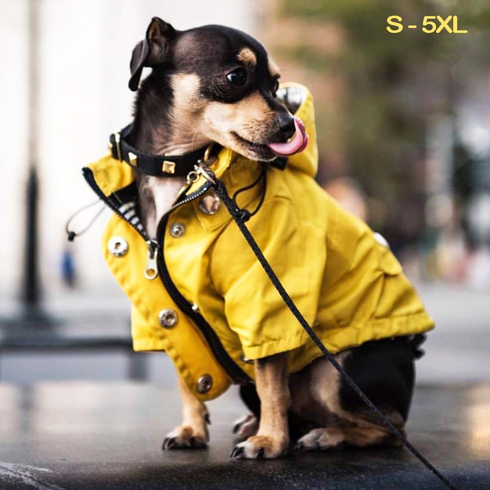 Ropa impermeable para perros pequeños, medianos y grandes, chaqueta a prueba de viento, impermeable, sudaderas deportivas, S 5XL Impermeables para perro    -