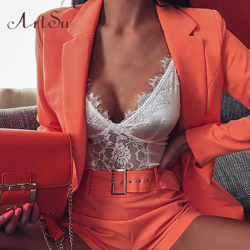ArtSu Blazer And Shorts Sets 2019 Two Pieces Outfit Notched Long Sleeve Women's Blazers Casual Short Pants Female ASSU60293