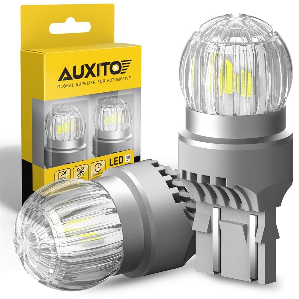 AUXITO-bombilla LED para luces diurnas, luz de marcha atrás, T20 7443 W21/5W 7440 W21W, para Lada, Audi, BMW, Volkswagen, Ford, blanco, rojo, DRL, 2 uds.