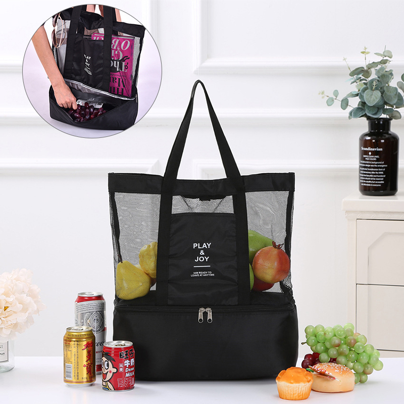 Picnic Bag Double Layer Storage Bags Portable Shoulder Insulation Bag Insulated Cooler Mesh Beach Tote Bag Food Storage Pack