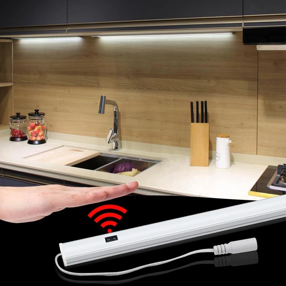 9V Sensor LED Cabinet Light lamp Hand Sweep Motion Sensor Kitchen Light  Hand Wave LED Bar Light Bedroom Closet Wardrobe light