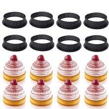 8 unids/set no stickTart molde tarta anillo perforado de corte de plástico anillos Mousse cortador de círculos DIY accesorios de repostería