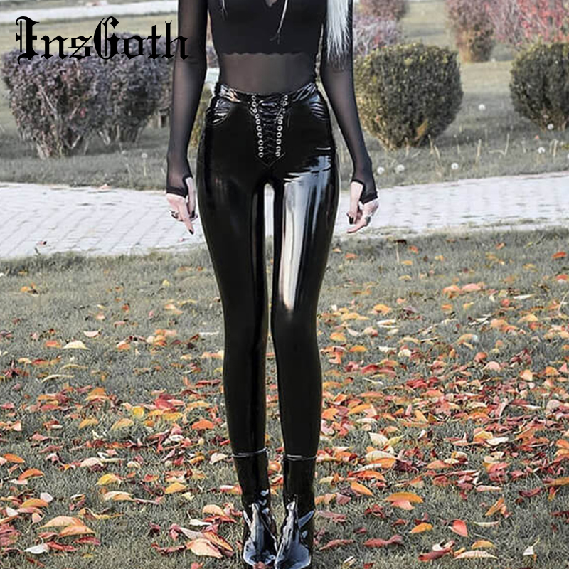 InsGoth High Waist Bodycon Faux Leather Pants Gothic Streetwear Lace Up Light Leather Long Trousers Casual Party Female PU Pants