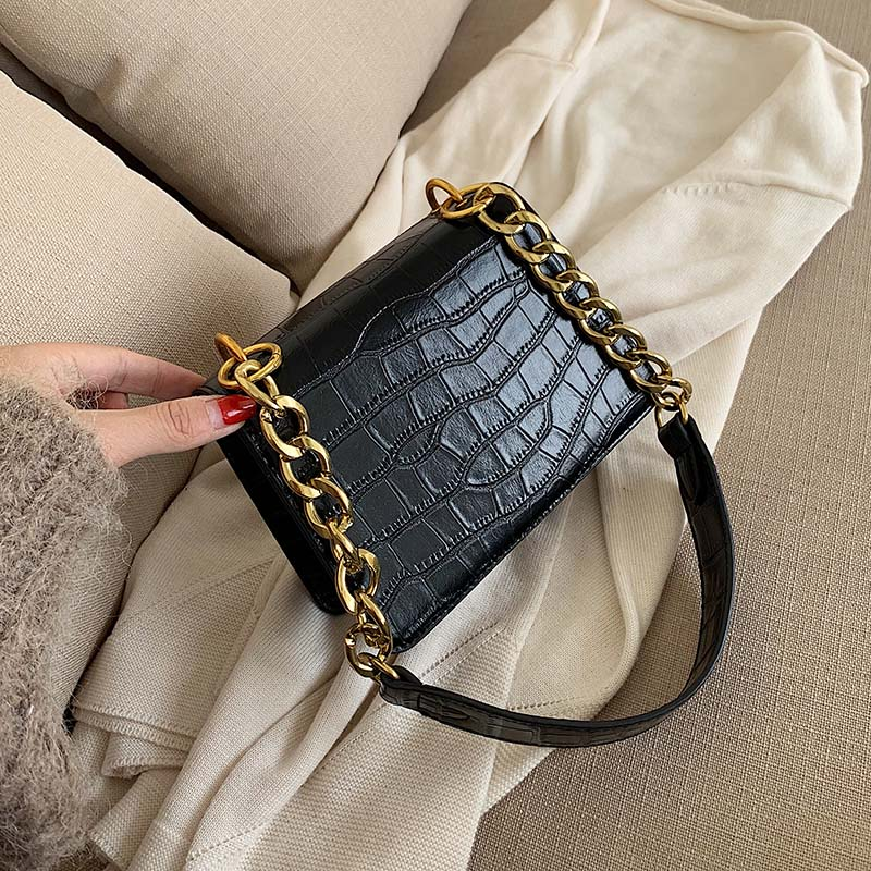 Stone Pattern PU Leather Shoulder Messenger Bags For Women 2020 Chain Mini Fashion Travel Handbags And Purses Cross Body Bag