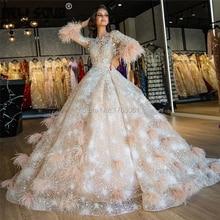 Sparkly médio oriente penas vestidos de noite 2020 robe de soiree nova couture dubai vestidos de festa beading vestido de baile kaftans árabe