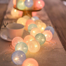 20 LED Cotton Ball Garland Lights String Christmas Fairy Lighting Strings for Outdoor Holiday Wedding Party Home Decoration