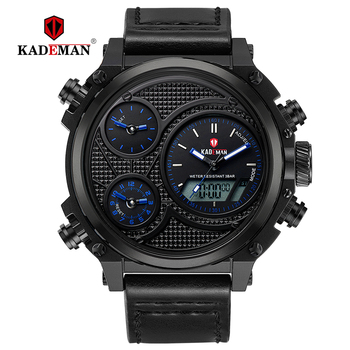 KADEMAN Men Watches Luxury Big Dial Business Quartz Leather Digital Military Wristwatches 3ATM TOP Brand Relogio Masculino gift