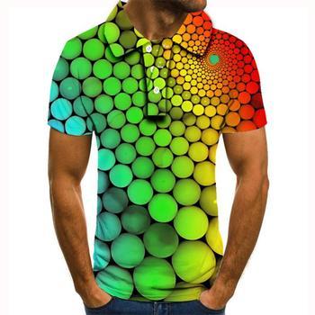 2020 nowa koszulka polo homme letnia męska koszulka Polo z krótkim rękawem wysokiej jakości mężczyźni kolorowe kulki drukowane koszulka Polo polo para hombre tanie i dobre opinie krótkie REGULAR Na co dzień guzik Drukuj POLIESTER Szybkoschnące Gradient