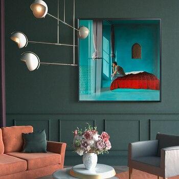 노르딕 컬러 하우스 추상 그림 벽 아트 캔버스 포스터 회화 인쇄, 거실 용 문학 스타일 Morden Decor