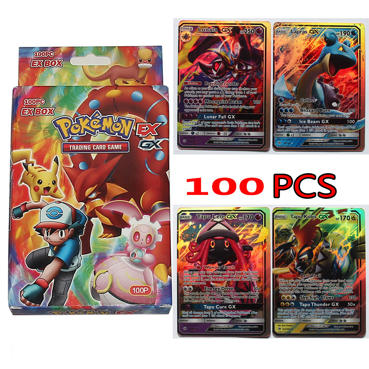 100pcs Pokemon Cards Pikachu English Flash GX + EX100 No Repeat Pet Elf Game Collection Cards Christmas Gift