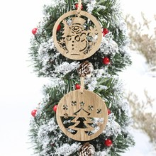 6pcs Hollow Christmas tree snowman Wooden Pendants Ornaments for Xmas Tree Pendant Party Decorations Kids Gift