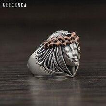 925 Sterling Thai Silver Goddess Angel Open Ring Trendy Vintage Rings Fine Jewelry For Men Women Rock Punk Hip-hop Boho