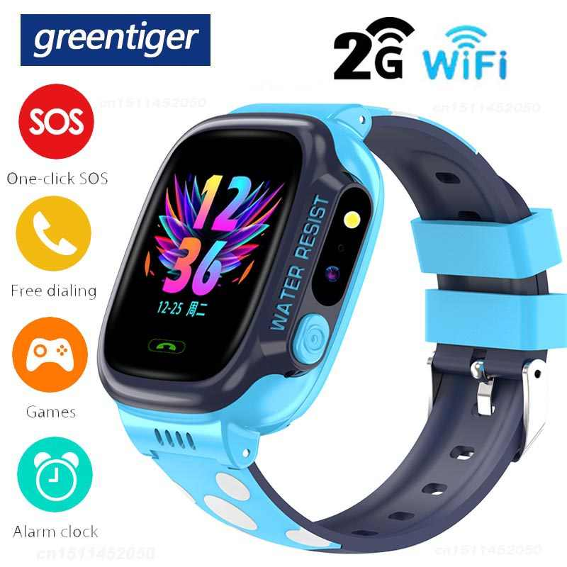 Greentiger Gps Wifi Sos Sim Smart Horloge Kids Positionering Locatie Tracker Anti-Verloren Game Y92 680 Mah Baby Smartwatch vs Q50 Q90