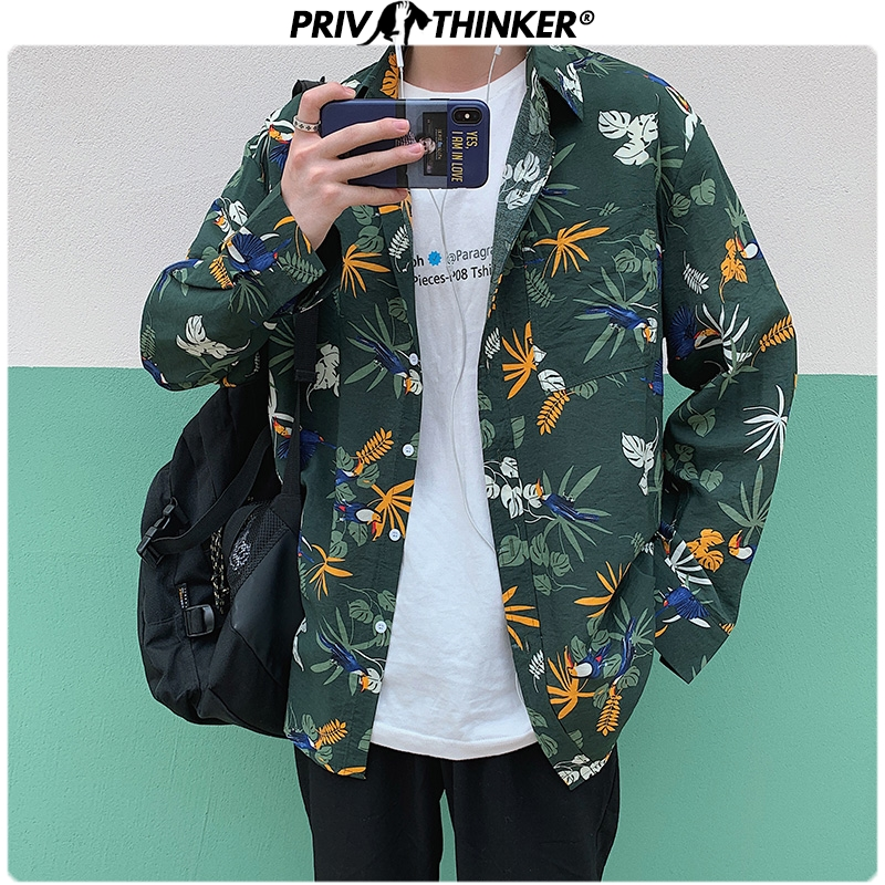 Privathionker Spring Leaf Printed Men Shirts 2020 Korean Man Casual Blouse Tops Boho Style Man Long Sleeve Shirts 5XL