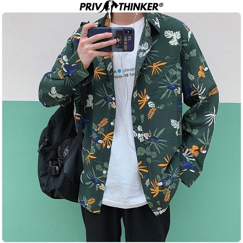 Privathionker Spring Leaf Printed Men Shirts 2020 Korean Man Casual Blouse Tops Boho Style Man Long Sleeve Shirts 5XL