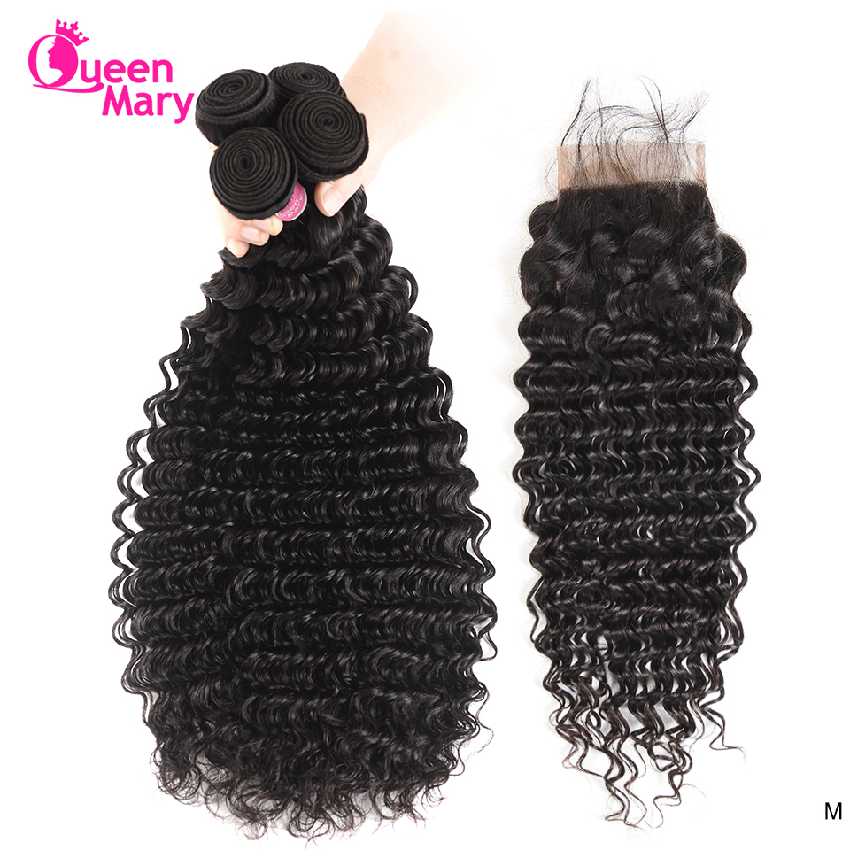 Malaysian Deep Wave Bundles With Closure Human Hair 3 Bundles With Closure Queen Mary Non-Remy Hair Bundles With 4x4Lace Closure
