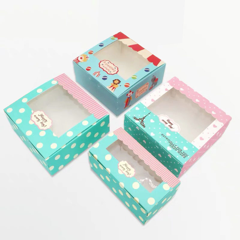 2020 New Arrival Craft Paper Cake Box Packaging 2/4/6 Cupcakes Boxes Wedding/Birthday Home Party Pastry Gift Boxes 5pcs