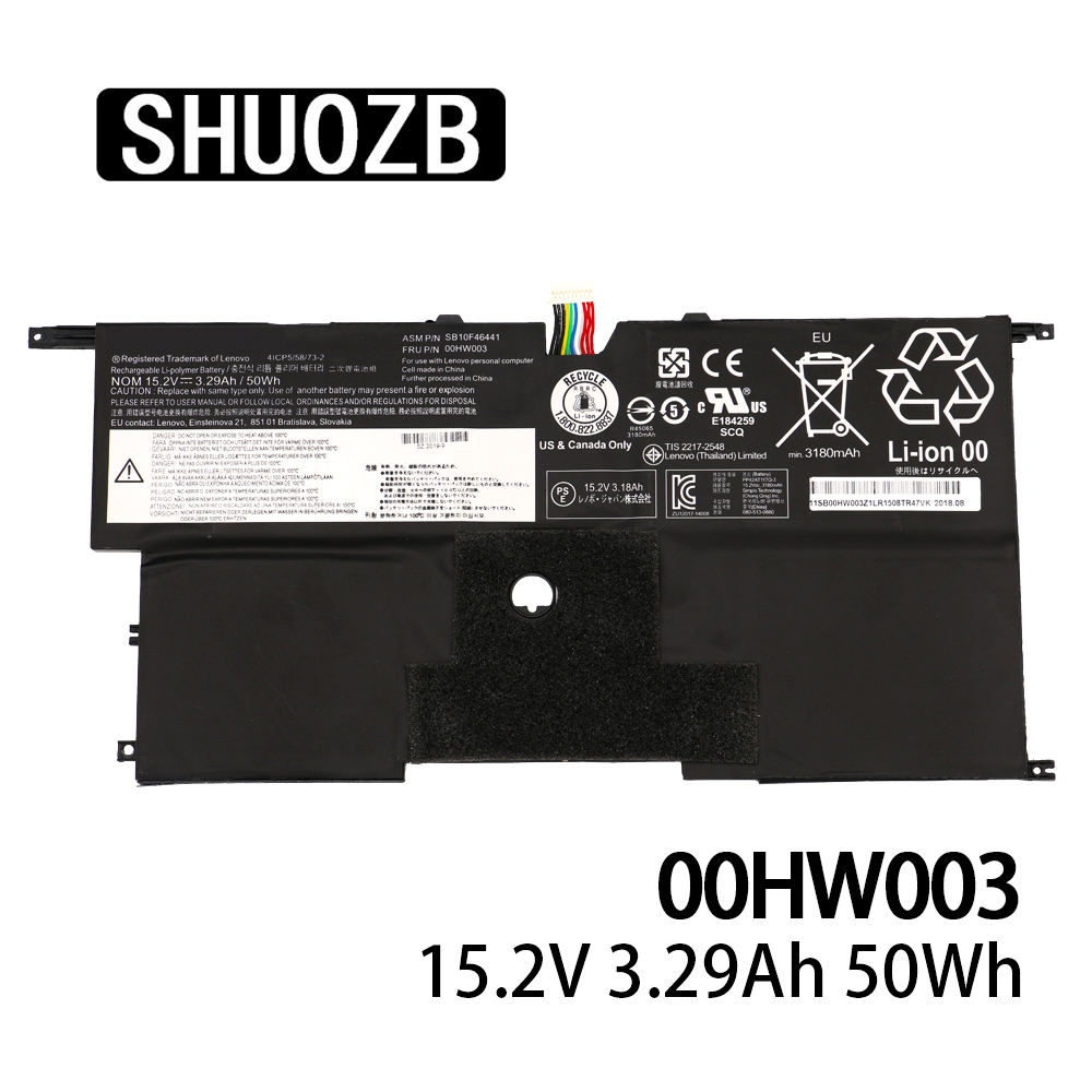 00HW003 SB10F46441 Laptop Battery For Lenovo ThinkPad X1 Carbon Gen3  2015 SB10F46441 SB10F46440 15.2V 50wh 3295mAh SHUOZB New