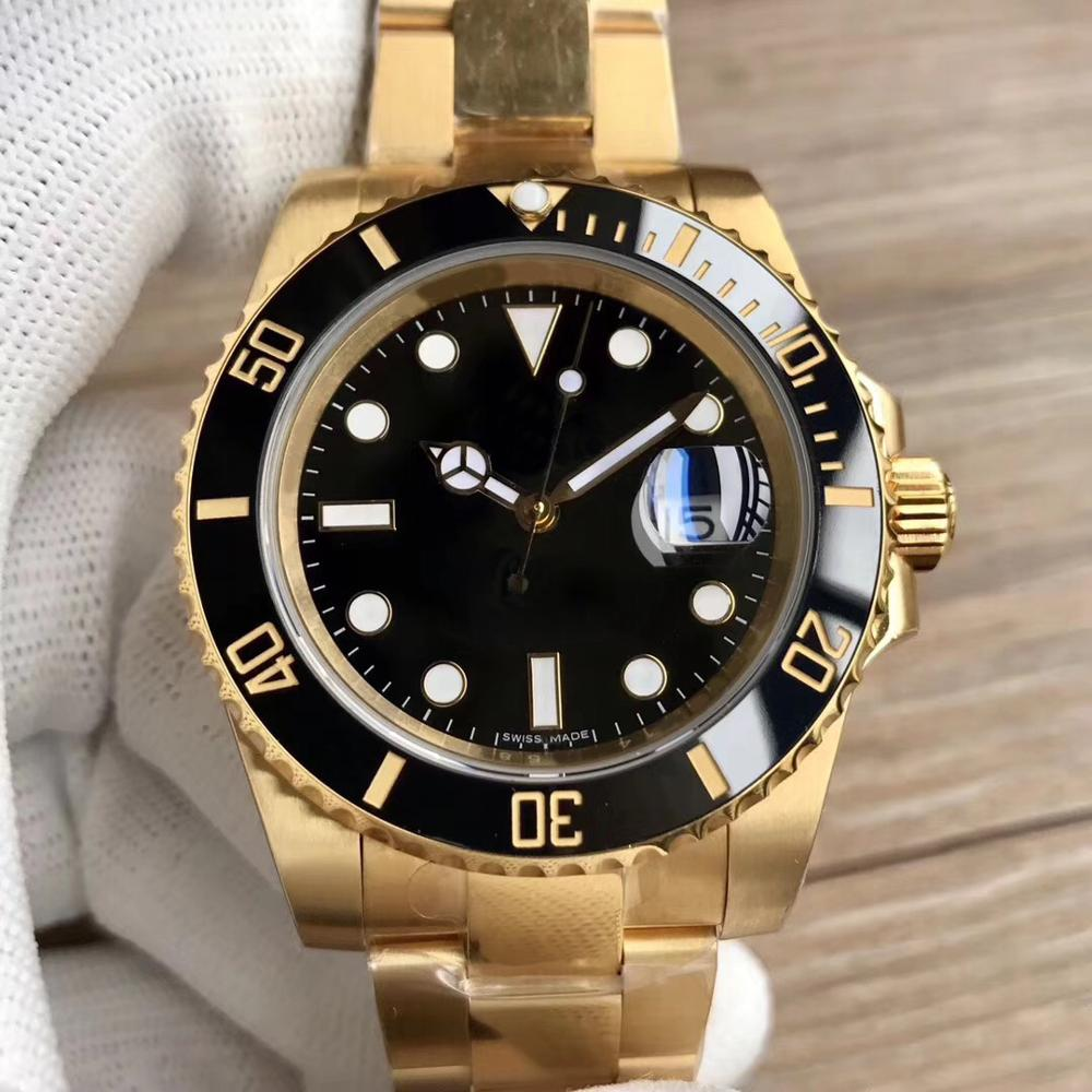 Golden Watch 40MM Sub Watch No Logo Diving Watch AAA Stainless Steel Watch Ceramic Ring Christmas Gift|Mechanical Watches| |  - title=
